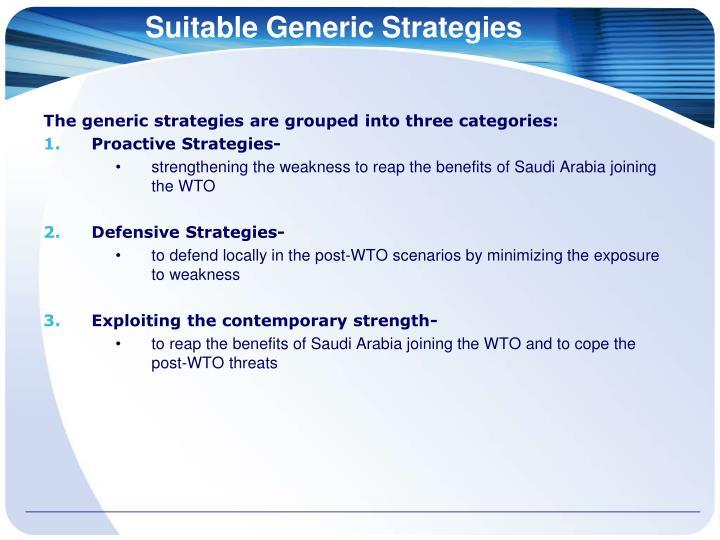 Suitable Generic Strategies