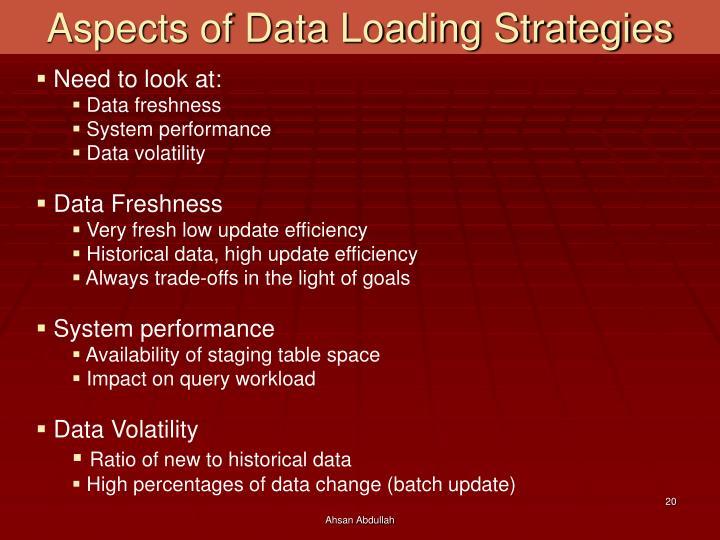Aspects of Data Loading Strategies