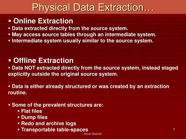 Physical Data Extraction…