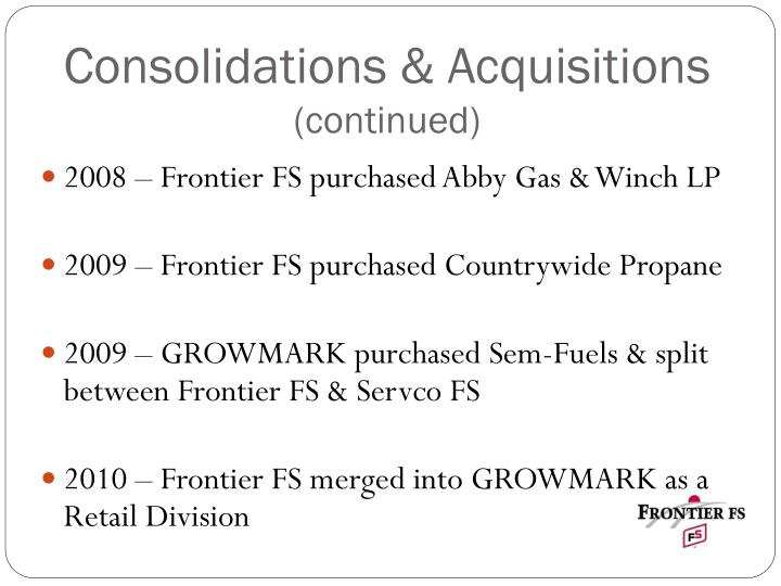 Consolidations & Acquisitions