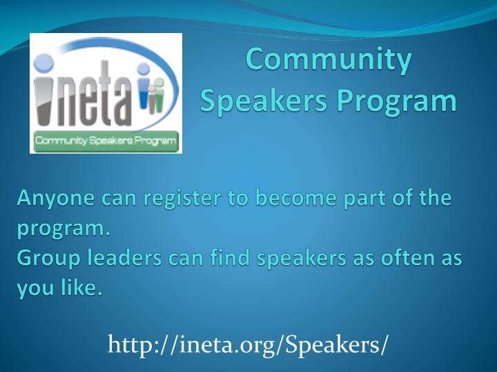 Community Speakers Program