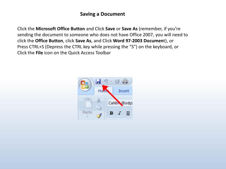 Saving a Document