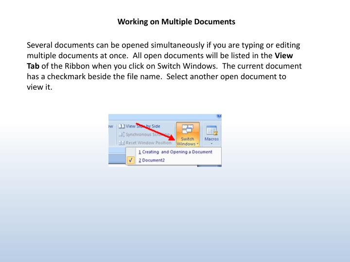 Working on Multiple Documents