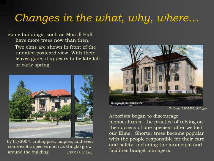 Changes in the what, why, where…