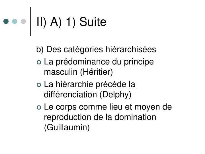 II) A) 1) Suite