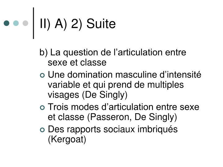 II) A) 2) Suite