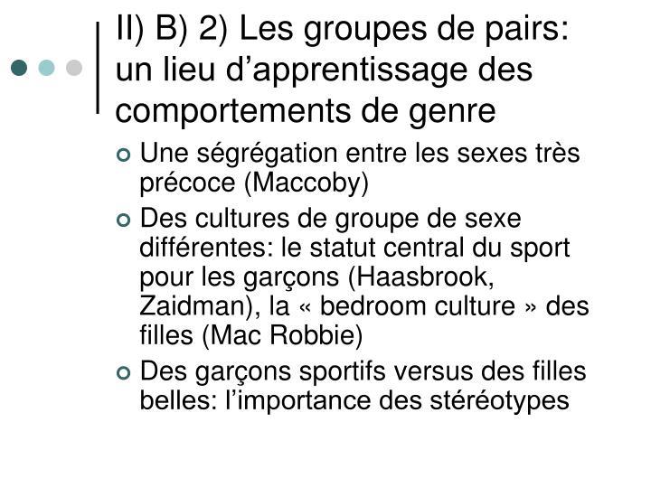 II) B) 2) Les groupes de pairs: un lieu d'apprentissage des comportements de genre