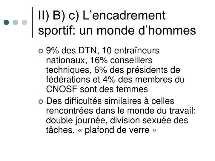 II) B) c) L'encadrement sportif: un monde d'hommes