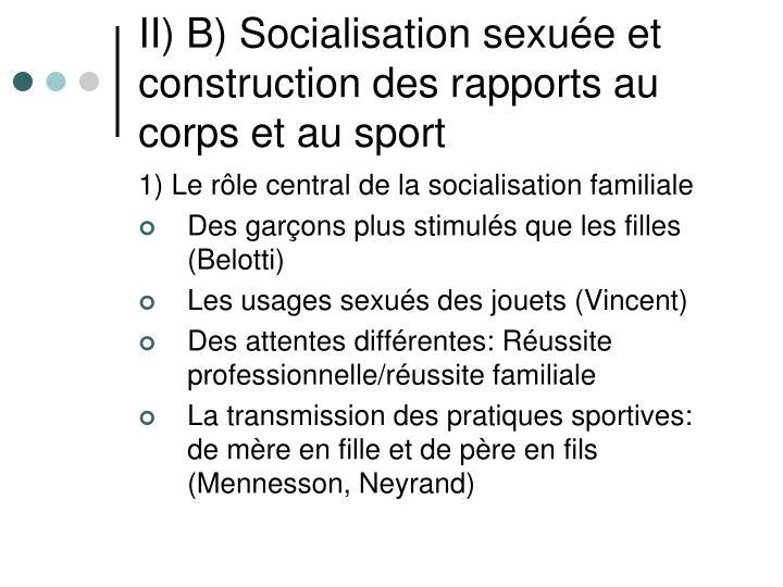 II) B) Socialisation sexuée et construction des rapports au corps et au sport