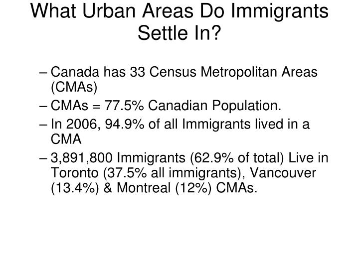 What Urban Areas Do Immigrants Settle In?