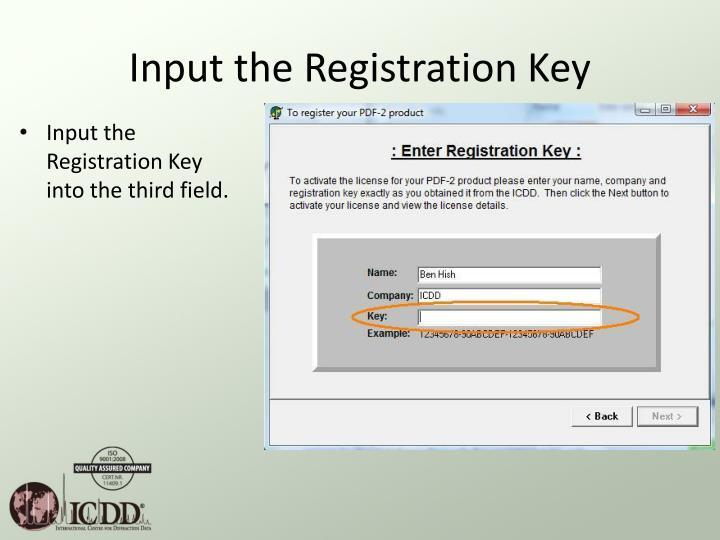 Input the Registration Key