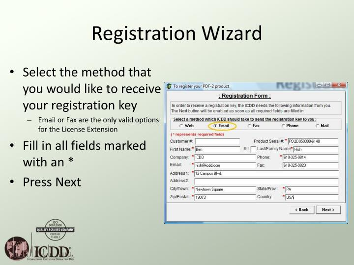 Registration Wizard