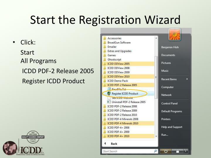 Start the Registration Wizard