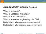 agenda jdbc metadata recipes