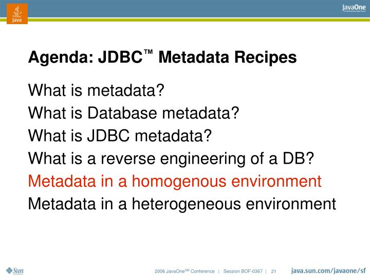 Agenda: JDBC