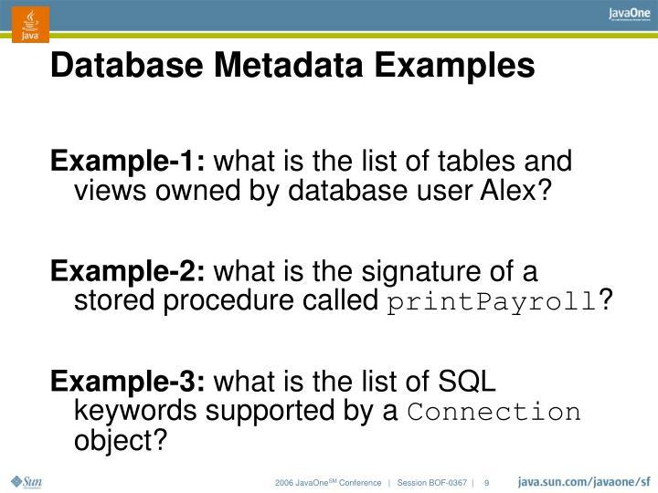 Database Metadata Examples