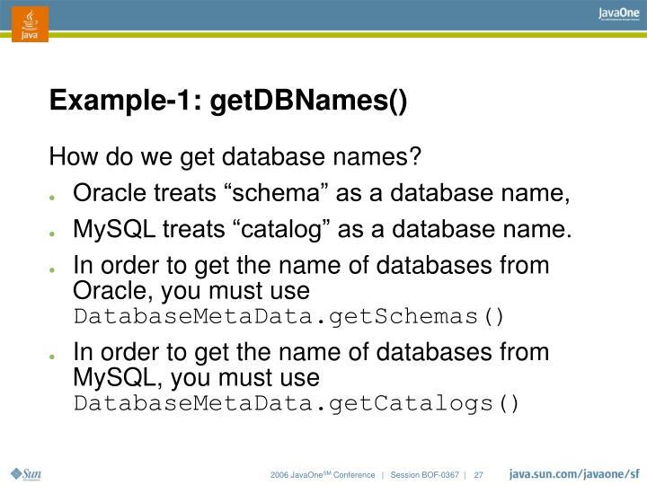 Example-1: getDBNames()