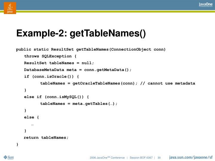 Example-2: getTableNames()