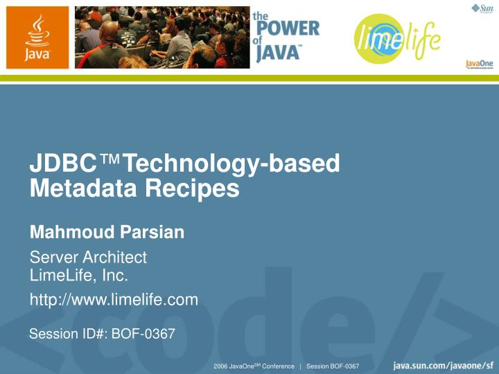 jdbc technology based metadata recipes
