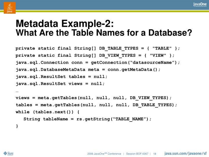 Metadata Example-2: