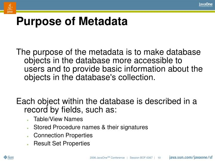 Purpose of Metadata