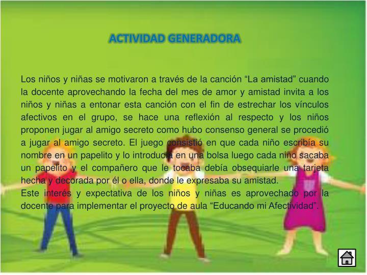 ACTIVIDAD GENERADORA
