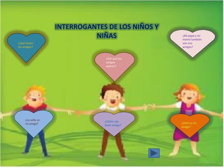 INTERROGANTES DE LOS NIÑOS Y NIÑAS