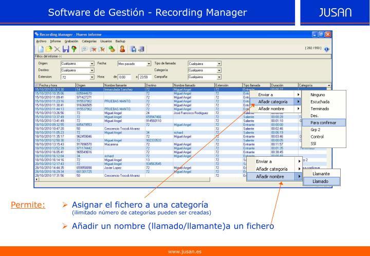 Software de Gestión - Recording Manager