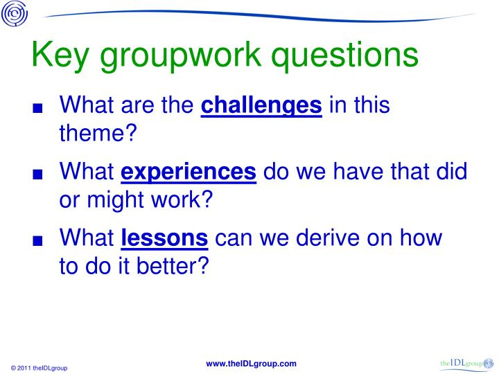 Key groupwork questions