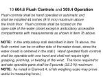 10 604 6 flush controls and 309 4 operation