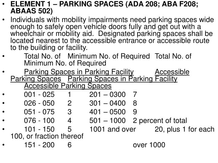 ELEMENT 1 – PARKING SPACES (ADA 208; ABA F208; ABAAS 502)