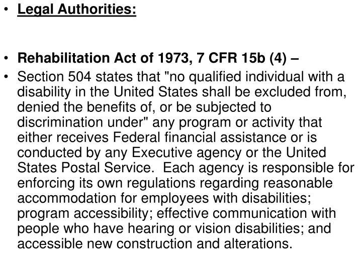 Legal Authorities: