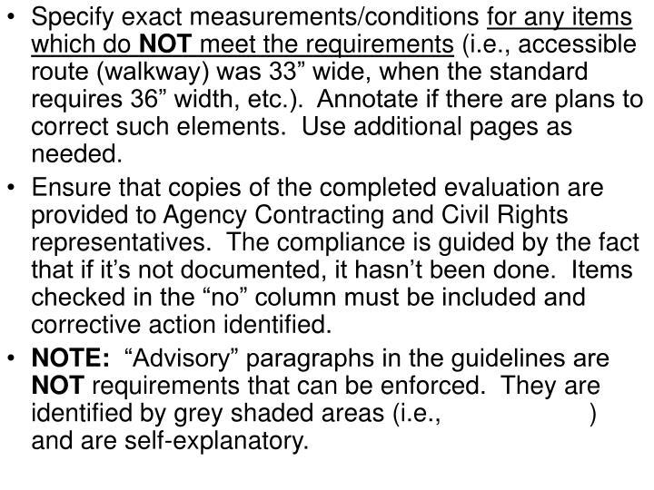 Specify exact measurements/conditions