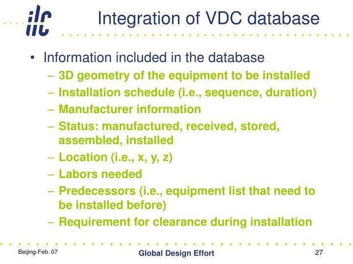 Integration of VDC database