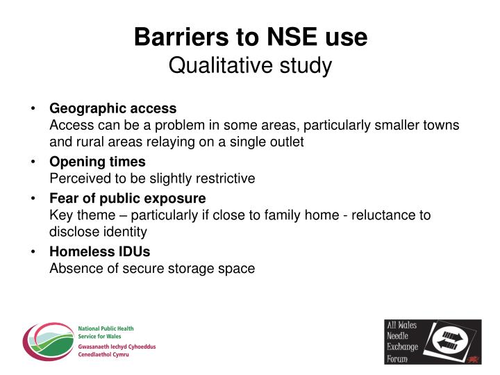 Barriers to NSE use
