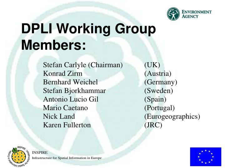 DPLI Working Group Members:
