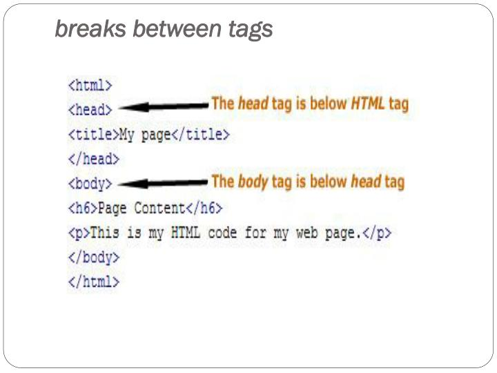 breaks between tags