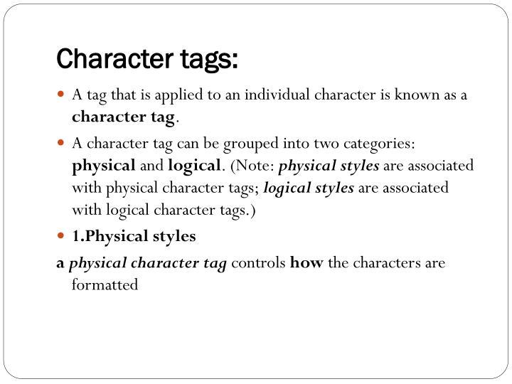 Character tags: