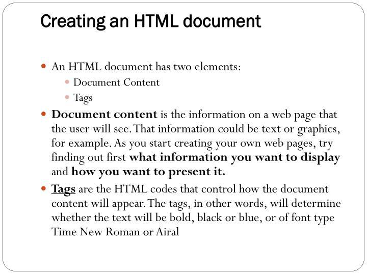 Creating an HTML document