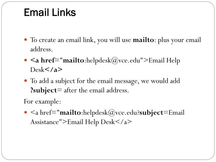 Email Links