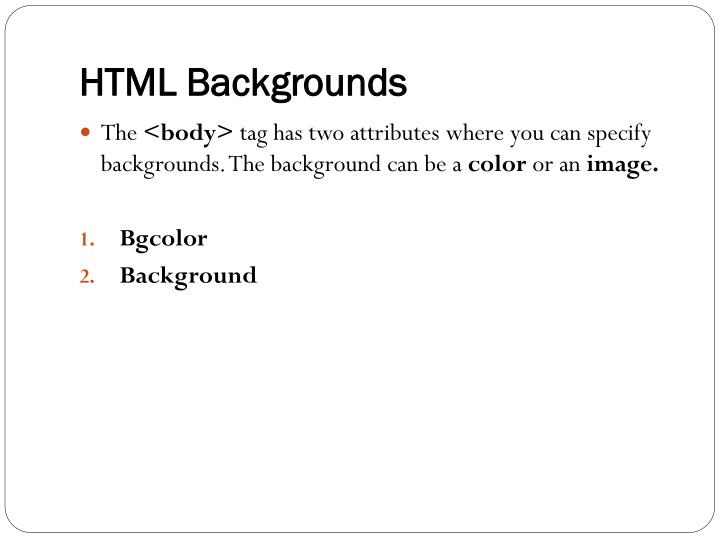 HTML Backgrounds