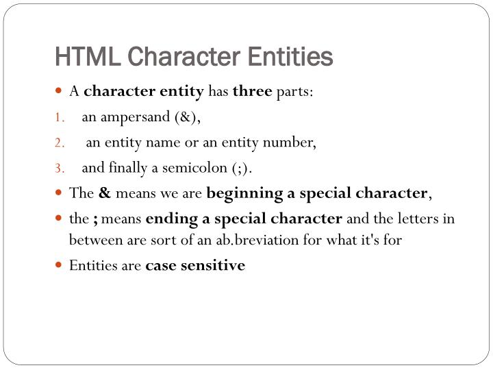 HTML Character Entities