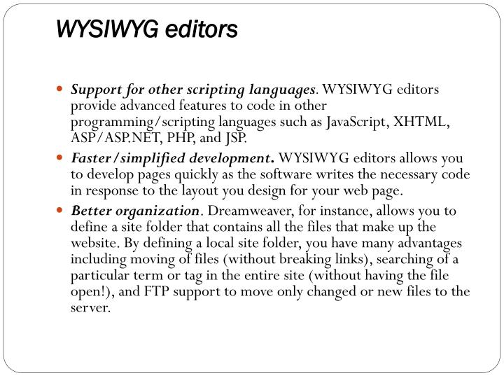 WYSIWYG editors