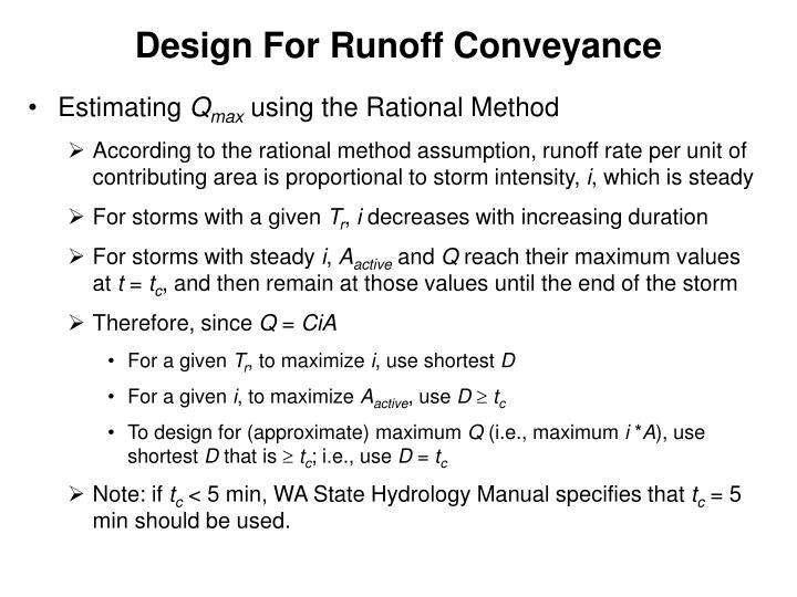 Design For Runoff Conveyance