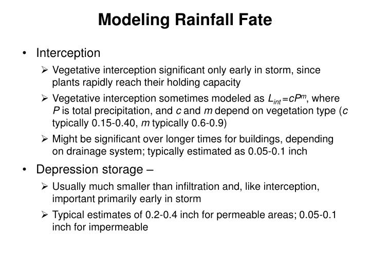 Modeling Rainfall Fate