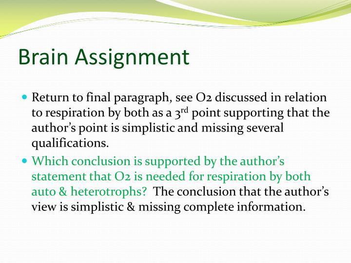 Brain Assignment