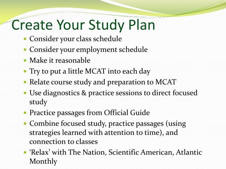 Create Your Study Plan