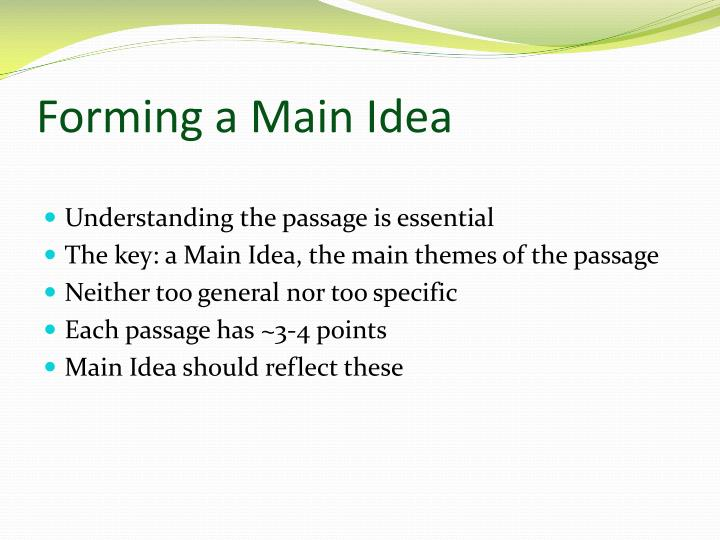 Forming a Main Idea