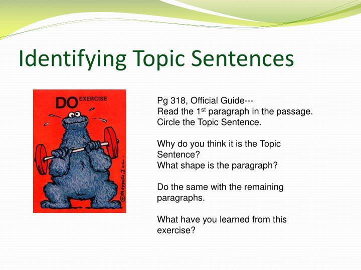 Identifying Topic Sentences