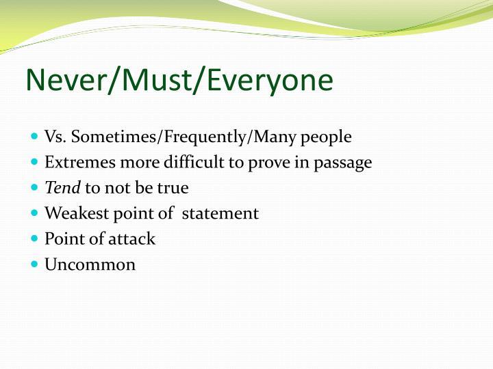 Never/Must/Everyone
